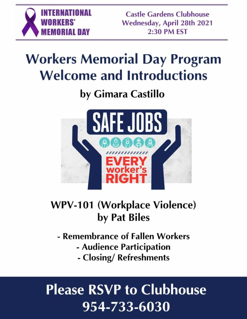 A flyer for the Workplace Violence Memorial Event in Lauderhill, Florida on April 28th, 2021.